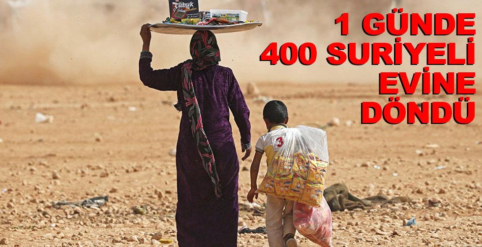 1 günde 400 Suriyeli evine döndü...