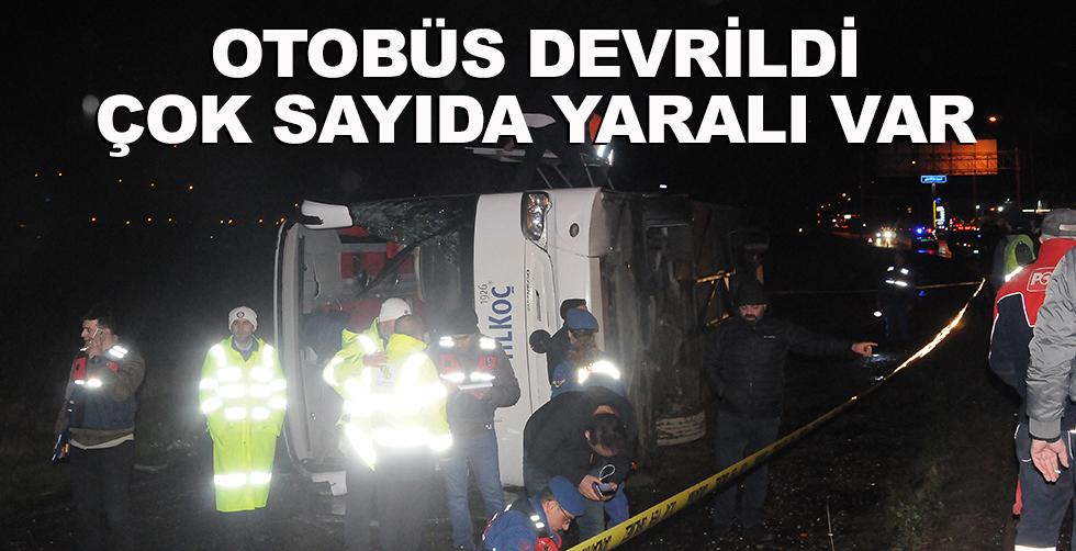 Otobüs devrildi, çok sayıda yaralı…