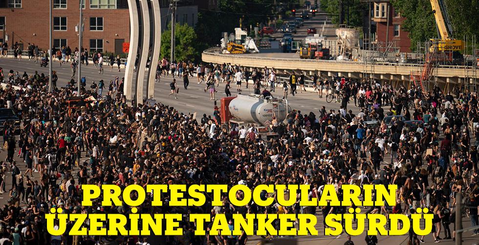 Tankeri protestocuların üzerine sürdü